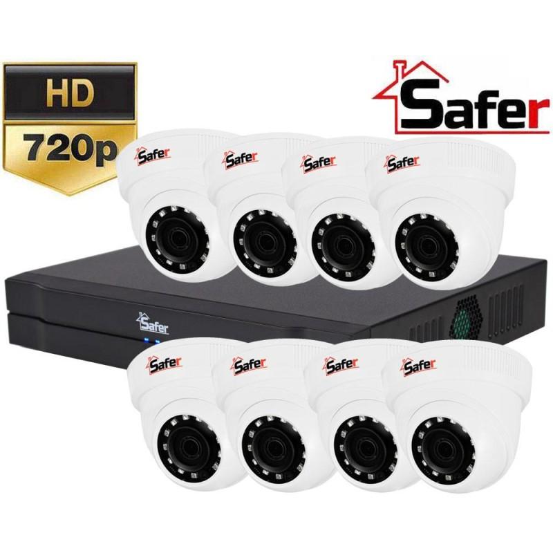 Sistem de supraveghere interior cu 8 camere dome 720p
